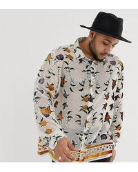 ASOS - Plus Regular Fit Floral Burnout Shirt With Border Hem - Lyst