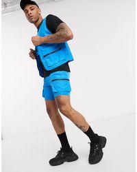 ASOS Co-ord - Pantaloncini multitasche - Blu