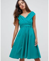 Closet - Wrap Over Skater Dress - Lyst