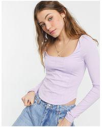 New Look Лиловый Топ В Корсетном Стиле С Длинными Рукавами -фиолетовый Цвет - Пурпурный