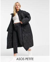 ASOS Asos Design Petite Quilted Longline Hooded Puffer Jacket - Black