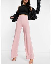 Flounce London Pantalon large basique côtelé à taille haute - Blush - Rose