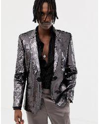 ASOS Skinny Blazer In Black Mirror Sequins