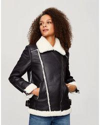 Miss Selfridge Aviator Jacket With Contrast Faux Fur - Black