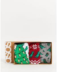 ASOS Christmas 3 Pack Dinosaur Socks - Green