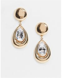 ASOS Earrings With Crystal Jewel Teardrop - Metallic