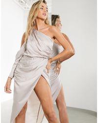 ASOS - Gedrapeerde Midi-jurk Met Blote Schouder - Lyst