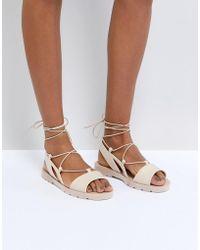 ASOS - Fizzle Jelly Tie Leg Sandals - Lyst