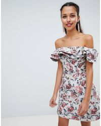 Chi Chi London - Bardot Jacquard A Line Dress - Lyst