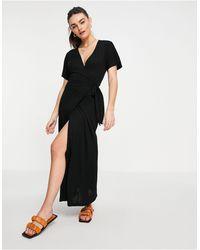 Whistles Vestido midi negro con diseño cruzado