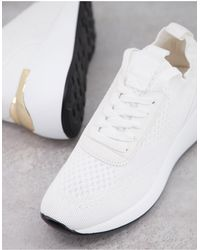 London Rebel Chunky Knitted Runner Trainers - White