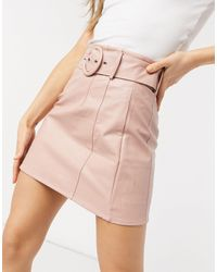 Glamorous Faux Leather Belted Mini Skirt - Pink