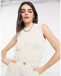 Mango Cable Knitted Sleeveless Vest - Natural