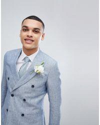 Reiss - Slim Double Breasted Suit Jacket In Light Blue Linen - Lyst