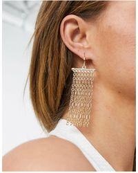 Warehouse Chain Row Drop Earrings-gold - Metallic