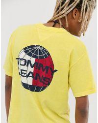 Tommy Hilfiger Summer Heritage Capsule - Geel T-shirt Met Logoprint Op De Achterkant