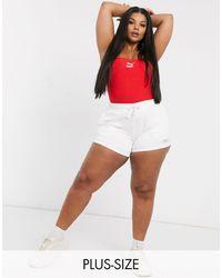 PUMA Plus – Weiße Fleece-Shorts