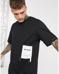 Religion Baseball Jersey Shirt With Patch Logo And Pocket Detail - Black