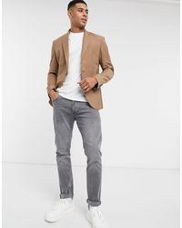 New Look Светло-коричневый Приталенный Пиджак - Многоцветный