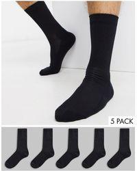 New Look Ribbed 5 Pack Sport Socks - Black