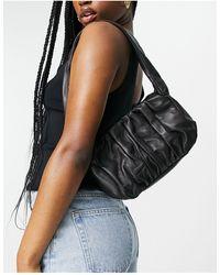 ASOS Leather Ruched 90s Shoulder Bag - Black