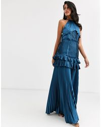 True Decadence Halterneck Tiered Maxi Dress With Panel And Ruffle Detail - Blue