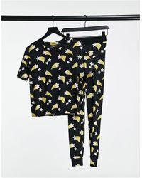 Lindex – Julia – Set aus Bio-Baumwolle mit Leggings und T-Shirt mit Sternschnuppenmotiv - Schwarz