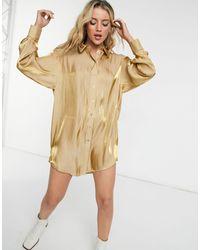 TOPSHOP Атласная Рубашка В Стиле Oversized Золотистого Цвета -золотистый - Многоцветный