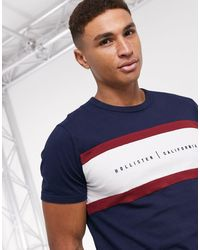 Hollister Small Scale Logo Blocked T-shirt - Blue