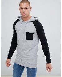 ASOS - Muscle Longline Hoodie With Contrast Raglan Sleeves And Chest Pocket - Lyst