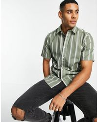 Only & Sons Vertical Stripe Shirt With Short Sleeves - Green