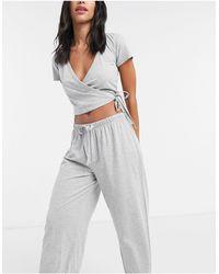 ASOS - Top de pijama de punto con parte delantera cruzada en gris marga Mix & Match de - Lyst