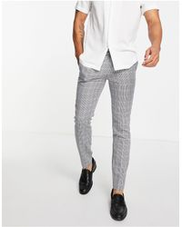 TOPMAN Pantaloni da abito skinny a quadri grigi - Grigio
