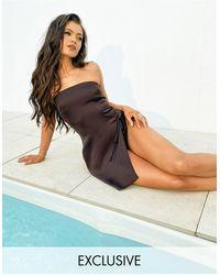 South Beach Эксклюзивное Пляжное Платье Мини Коричневого Цвета С Разрезом На Бедре X Natalya Wright-коричневый Цвет