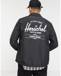 Herschel Supply Co. Buttoned Logo Drawstring Coach Jacket - Black