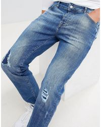 Mennace Rip & Repair Slim Wallace Jeans - Blue