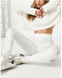 Missguided Leggings color marfil muy brillantes - Blanco