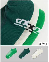 ASOS 4505 Run Sneaker Socks With Anti Bacterial Finish 3 Pack - Green