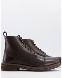 Walk London Wolf Toe Cap Boots - Brown
