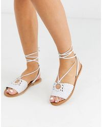 ASOS Figtree Woven Leather Tie Leg Sandal - White