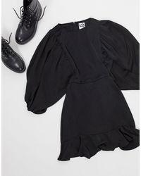 Lola May Skater Dress With Volume Sleeve - Black