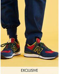 New Balance Темно-синие/красные Кроссовки 574 - Синий