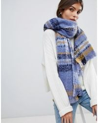 Oasis - Oversized Checked Scarf In Blue - Lyst