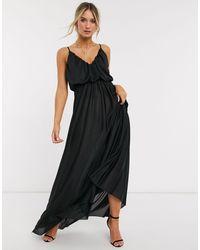 ASOS Cami Plunge Maxi Dress With Blouson Top - Black