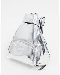 TOPSHOP Faux Leather Mini Backpack - Metallic