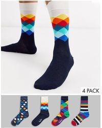 Happy Socks Set Van 4 Paar Sokken Met Grote Stippen - Blauw