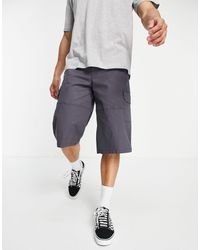 ASOS Wider Longer Length Cargo Shorts With Panel Details - Grey