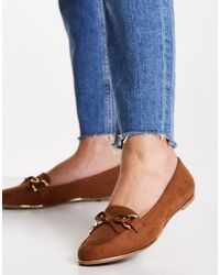 Lipsy Faux Suede Flat Chain Detail Loafer - Brown