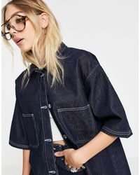 TOPSHOP Co-ord Raw Recycled Cotton Denim Shirt - Blue