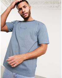 Nicce London Melrose - T-shirt oversize blu con logo ricamato